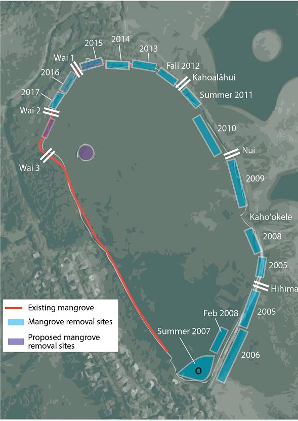 Figure 1: Mangrove removal chronosequence. Circa 2016