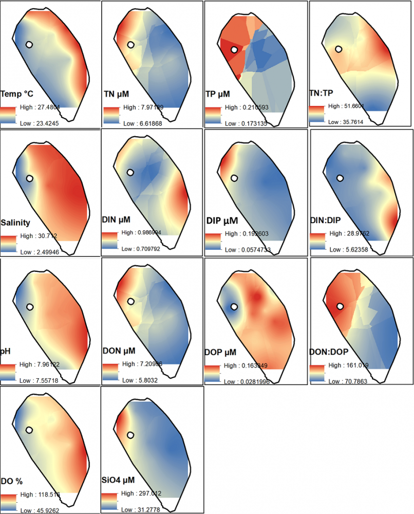 Figure 4: Surface Maps.  Various chemical parameters were used in spatial interpolation to assess heterogeneity.