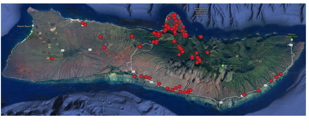 Map of Moloka'i Showing Each of the 146 Recording Locations