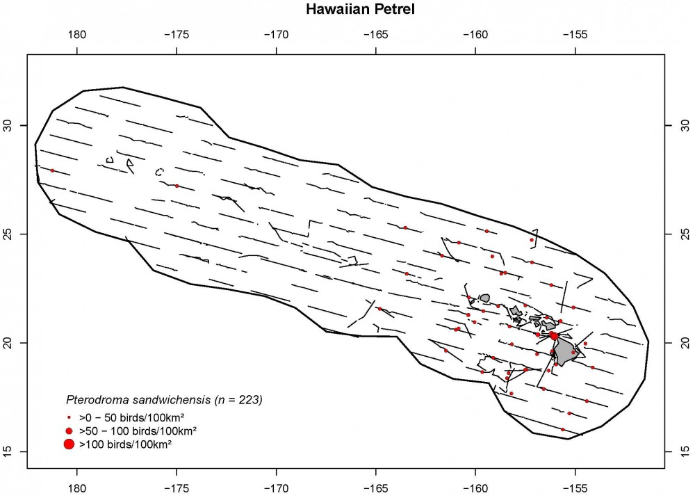 Distribution and density (birds/100 km2) for Hawaiian petrels.