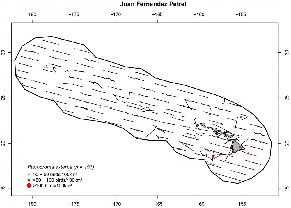 Distribution and density (birds/100 km2) for Juan Fernandez petrels.
